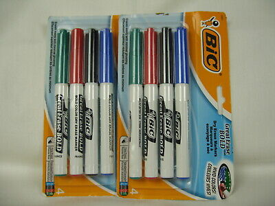 New - Lot Of 2 - Bic 4-pack Dry Erase Markers Fine Point - Free Shipping