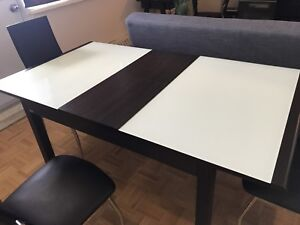 Glass & Wood Expandable Dining Table