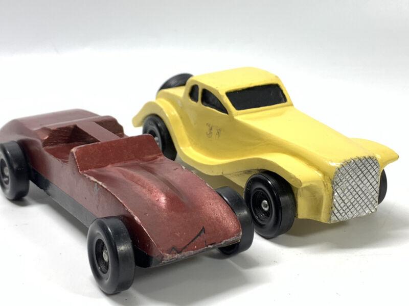 Lot of 2 Vintage Custom Wood Handmade Pinewood Derby Race Cars Cub Boy Scouts