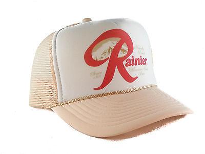 Vintage Rainier Beer hat Trucker Hat mesh hat snapback hat khaki new adjustable