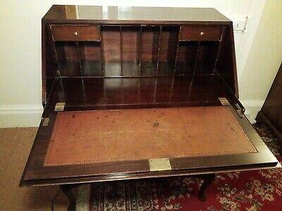 Mahogany slope front bureau, three drawer