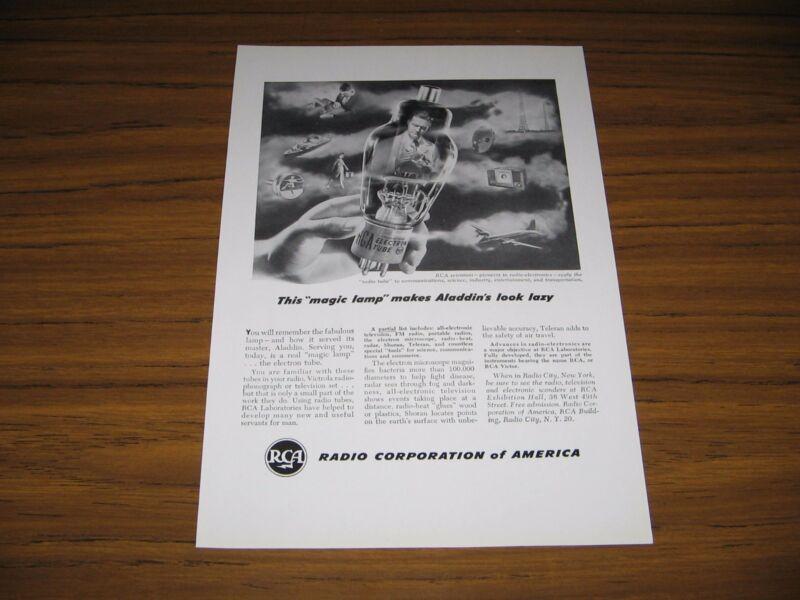1948 Print Ad RCA Electron Radio Tubes Magic Lamp