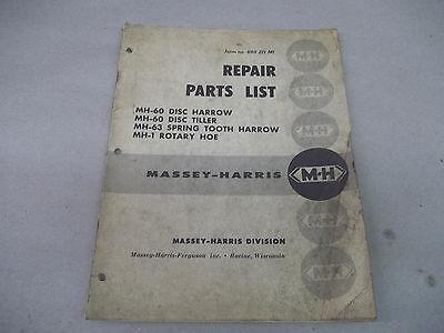 Massey Harris Ferguson Repair Parts List For Mh-60 Mh-63 Mh-1 Harrow Tiller Hoe