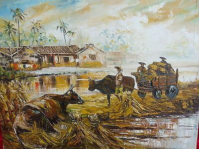 Schönes,altes Gemälde__asiatische Dorfszene __signiert !