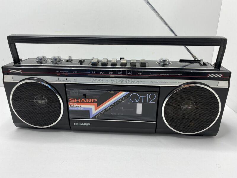 Vintage SHARP QT12 BK Boombox Stereo Radio Tape Cassette Rare! black