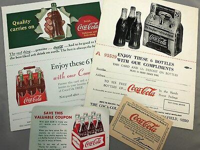 4 1930s -1960s COCA COLA Soda Bottle Coupons Vintage Original Advertising B