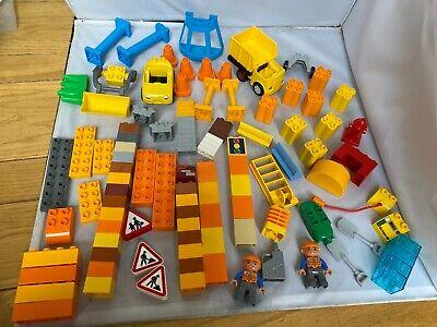 Lego Duplo Lot Construction Truck Dump Loader Figures Cones Signs Gas Clean