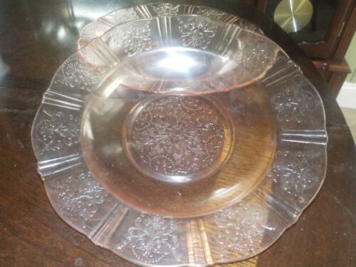 DEPRESSION GLASS AMERICAN SWEETHEART PINK TWO FLAT SOUP BOWLS.....NICE!