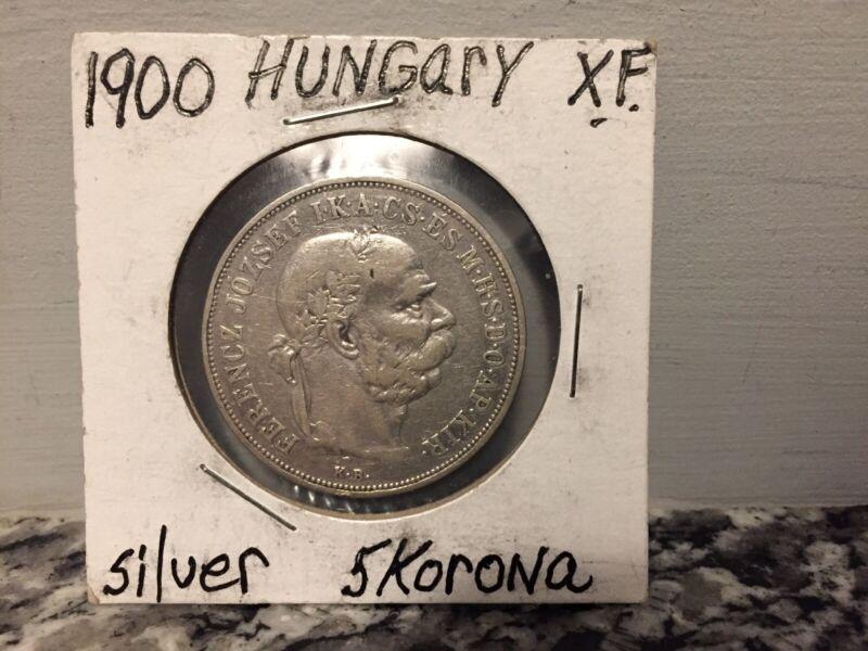 1900 Hungary 5 Korona Silver