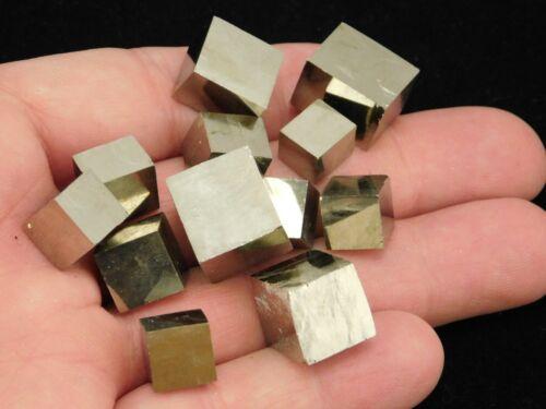 Big Lot of TWELVE Smaller 100% Natural PYRITE Crystal Cubes! Spain 74.4gr