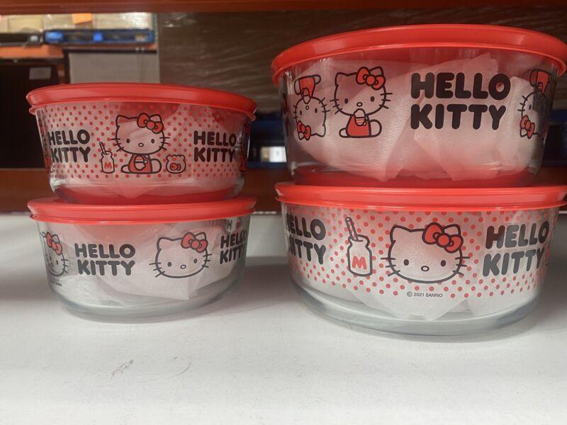 pyrex hello kitty 8 pc set NEW