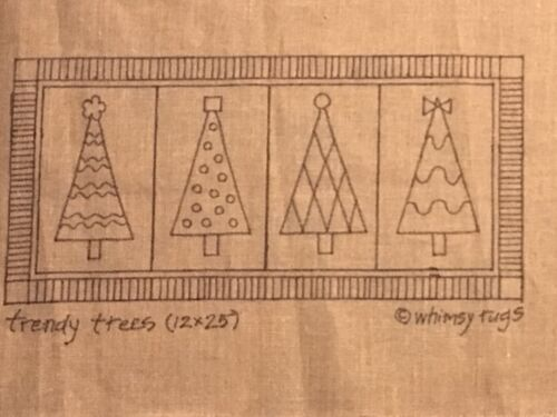 Rug Hooking Pattern - Trendy Trees - 12 x 25 on Linen