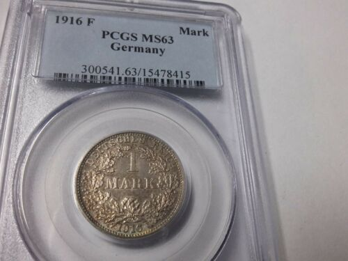 Rare 1916 F Germany Silver 1 Mark PCGS MS 63