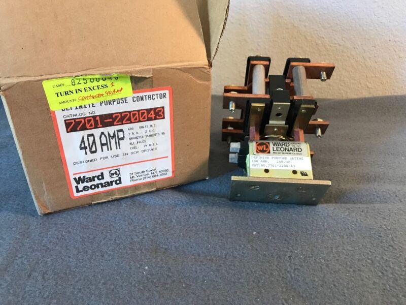 Ward Leonard 7701-220043Definite Purpose Contactor 40AMP 600 Volts D.C.