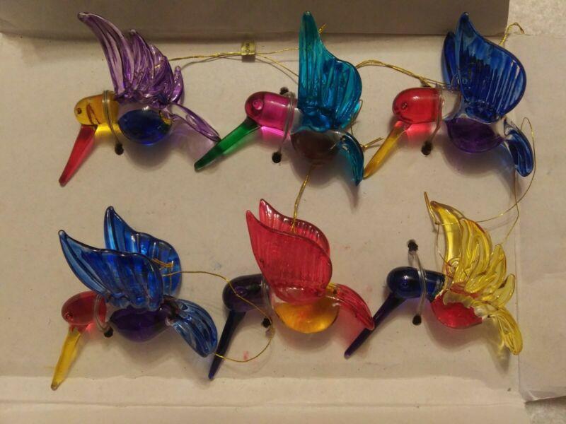 Vtg.?  NIB Blown glass hummingbird ornaments set of 6