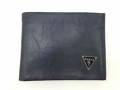 $85 GUESS MEN'S BLACK LEATHER DOUBLE BILLFOLD 5CC PASSCASE ID CREDIT CARD WALLET