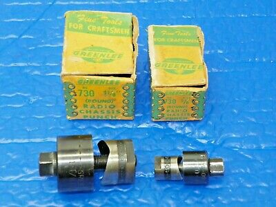 Vintage Greenlee Radio Chassis Punches No. 730 Woriginal Boxes Lot Of 2