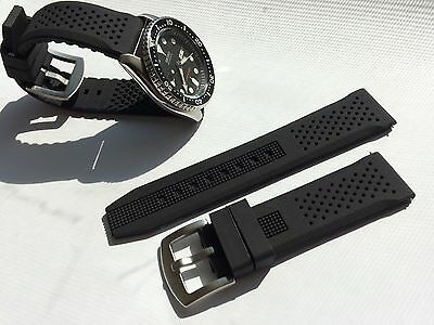 Seiko Black Strap (22mm Black Silicone Rubber Watch Band Strap for Seiko Diver Scuba fit 22mm LUG  )
