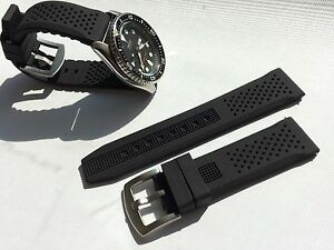 87271658534 22mm Black Silicone Rubber Watch Band Strap for Seiko Diver Scuba fit 22mm  LUG