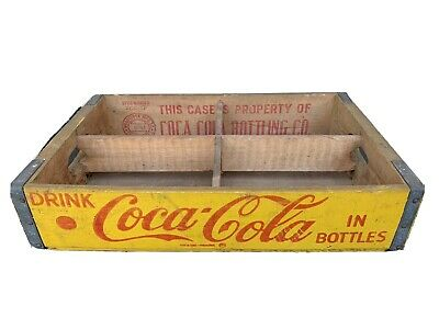Vintage Yellow Coca Cola Wooden Crate Coke - 1961 Charleston SC Six Pack Case