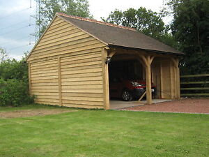 ENGLISH GREEN OAK TIMBER FRAME GARAGE / CARPORT TWO BAY. OUTBUILDING CARTLODGE