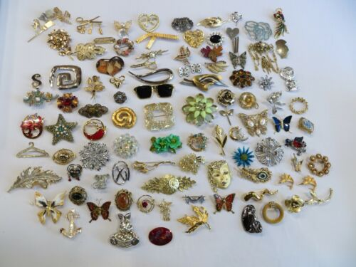 90 Piece Brooch Pin Lot + Lapel Pins, Vintage and Modern