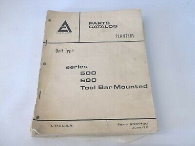 Allis-chalmers Planters 500 600 Series Tool Bar Mounted Parts Catalog