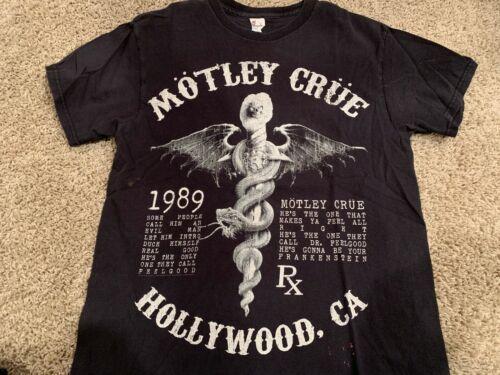 MOTLEY CRUE  DR Feelgood Hollywood 1989 lyric shirt Adult Medium distressed