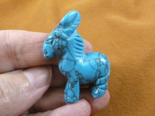 (Y-BUR-575) Blue Howlite BURRO donkey LITTLE mule gemstone FIGURINE gem carving