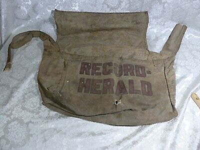 1930s Handbags and Purses Fashion VINTAGE 1930's NEWSPAPER DELIVERY BAG WAUSAU WI DAILY RECORD HERALD $89.00 AT vintagedancer.com