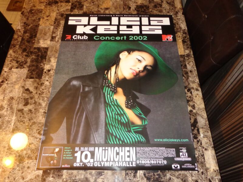 Alicia Keys Rare Authentic Munich Germany Show Concert Poster 2002 Olympiahalle