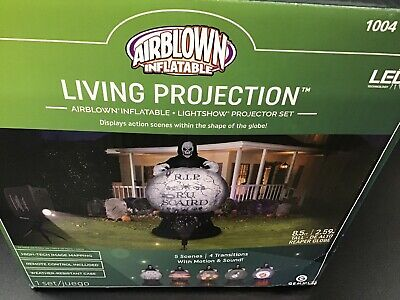 New 8.5ft Living Projection Reaper Globe Halloween Inflatable Airblown Gemmy RIP