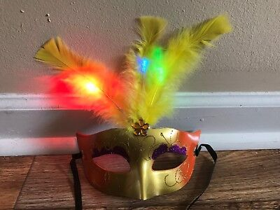 Halloween Girl Masks Party LED Mask Masquerade Mask Yellow Feather Light Up - Rave Girls Halloween