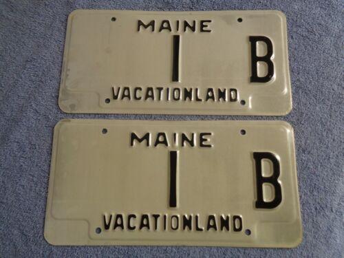 1986 87 prototype maine low # 1  license plate pair