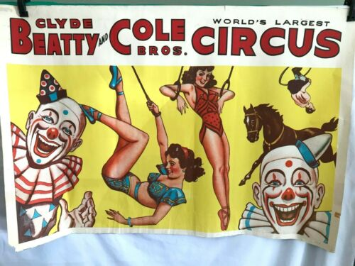 Vintage Original Circus Poster Clyde Beatty and Cole Bros. Trapeze Clowns