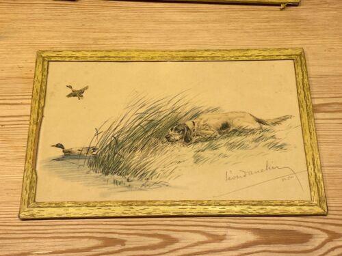 ANTIQUE LEON DANCHIN SIGNED LTD ED ENGLISH SETTER DOG ETCHING 1930 NO. 76 OF 500
