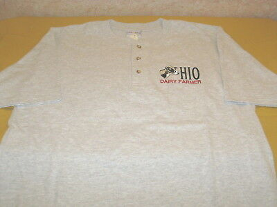 OHIO DAIRY FARMER - Holstein Cow - Embroidered Light Gray T-Shirt New! NWT LARGE Ohio Embroidered T-shirt