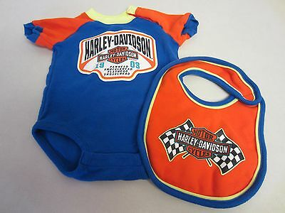 Harley Davidson Outfit 3/6 M Months One Piece Bib Infant Orange Blue CLEARANCE