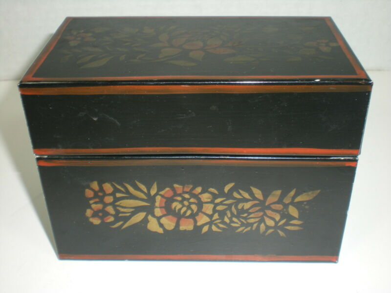 vtg TOLEWARE Recipe Box Index Card File Black with Blue Interior