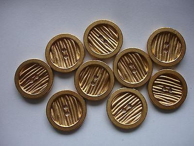 5 Knöpfe Metall goldfarben 15mm 2-Loch W105.8