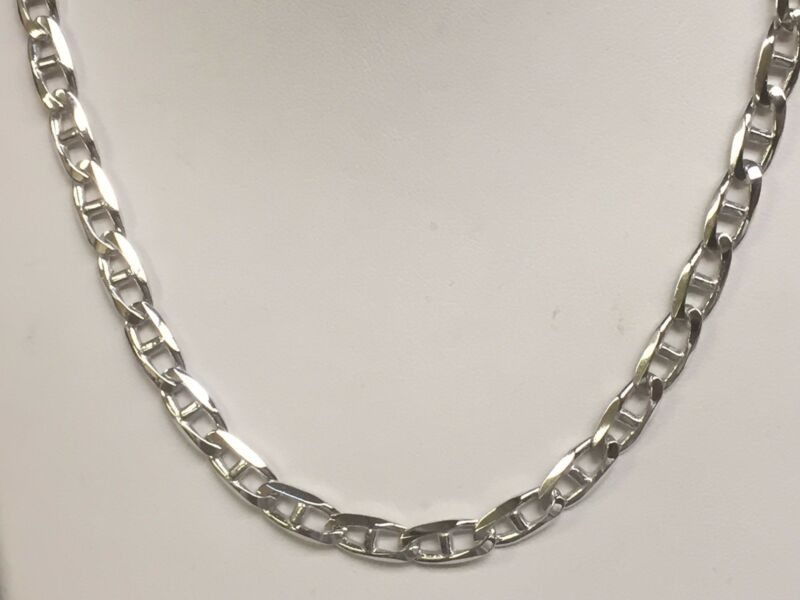 14k Solid White Gold Anchor Mariner Chain/necklace 4 Mm 36 Grams 28""