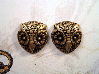 Oxidized Owl - Oxidized Brass Owl Head Stampings (2) - BORAT6605