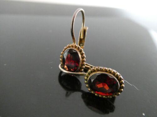 Victorian Gold Over Sterling Gilt Faceted Bohemian Garnet Leverback Earrings