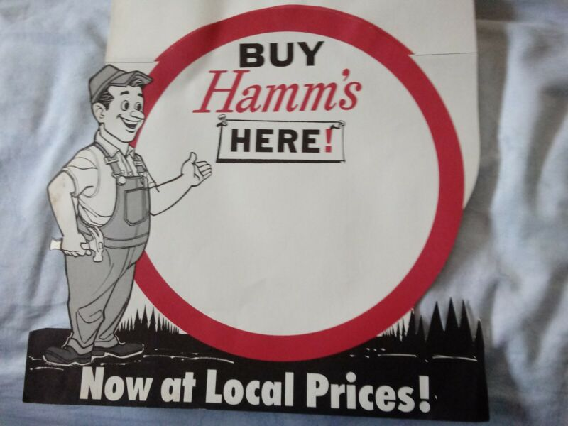Rare  Hamms beer 1950-60s point of sale sign