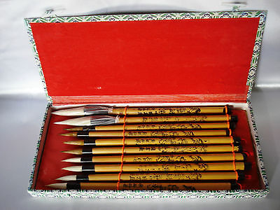 Vintage Asian Calligraphy Brush Japanese Chinese in Box Set of 10