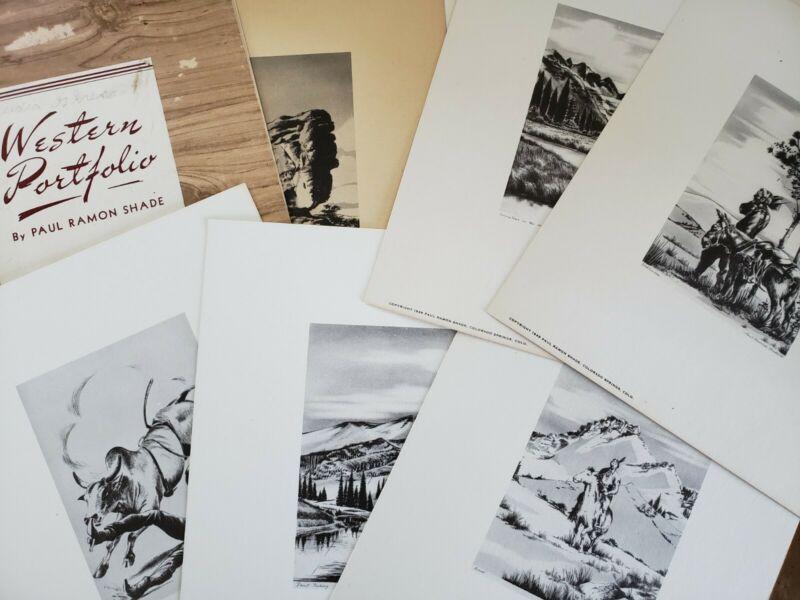 Paul Ramon Shade Western Portfolio Pencil Art Prints Frame-it Card Company 1949