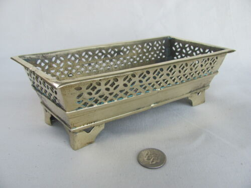 Antique / Vintage Asian Brass Rectangular Container w/ four pedestal feet