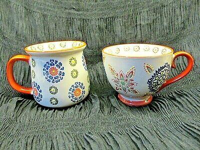 Yokohama Studio Hand Painted Pair of Mugs Coffee Cups~Bold Geometric Pattern-EUC Hand Painted Coffee