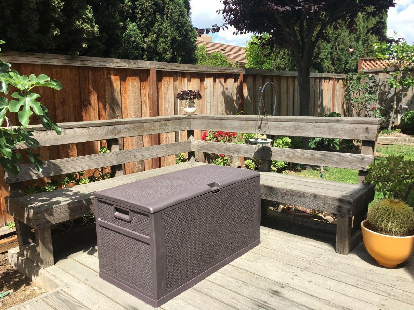 Brown Outdoor Storage Deck Box Chest Bin Garden 120-Gal Cont