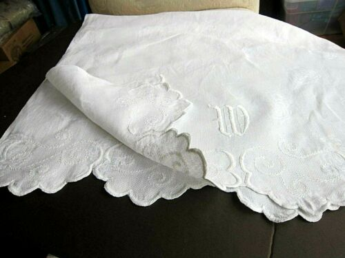 Antique Scalloped  Linen Damask Huck French Estate Towel Monogram W~Bath Sheet